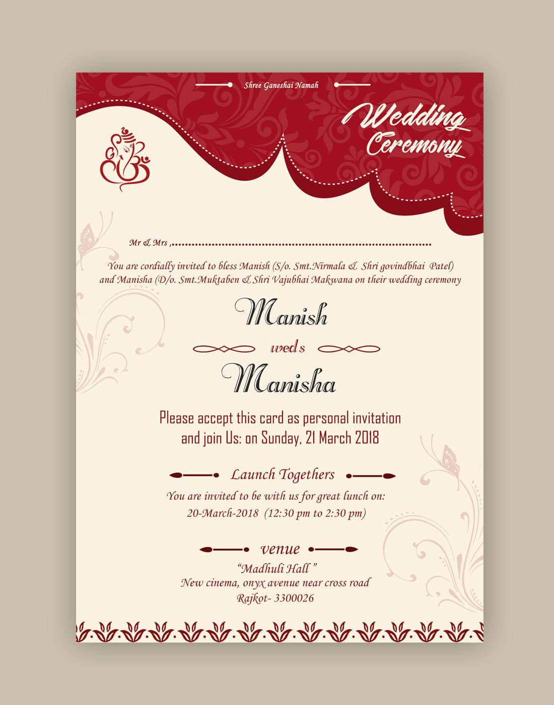 Free Wedding Card Psd Templates   Kankotri Vector Template Regarding Indian Wedding Cards Design Templates