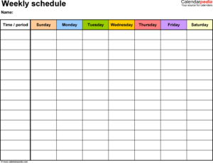 Free Weekly Schedule Templates For Word – 18 Templates throughout Work Plan Template Word