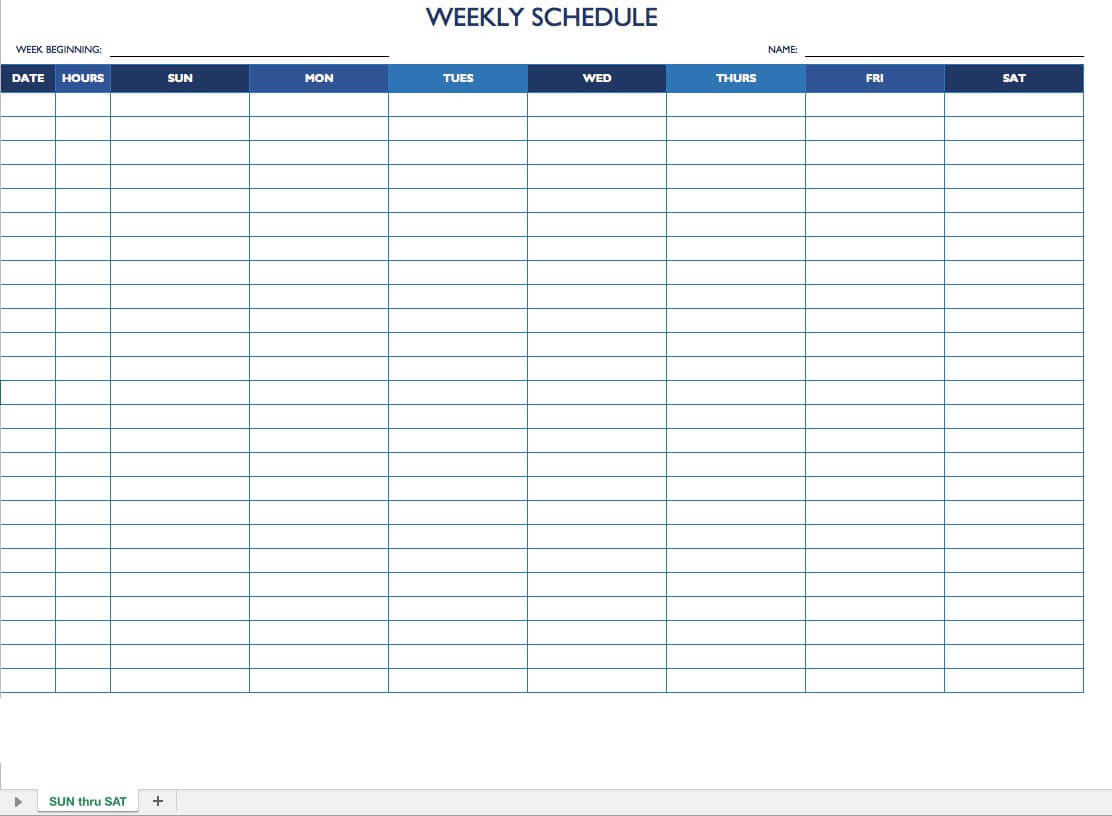 Free Work Schedule Templates For Word And Excel |Smartsheet Throughout Blank Monthly Work Schedule Template