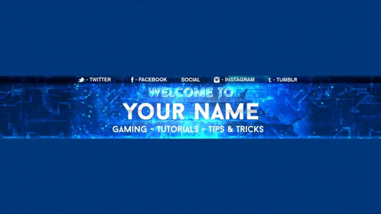 Free Youtube Banner Template – Electro Blue With Regard To Youtube Banners Template