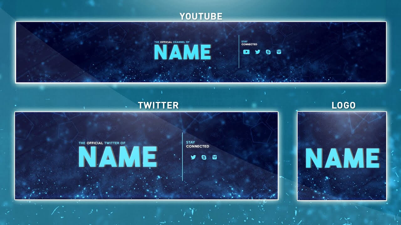 Free Youtube Banner Template | Photoshop (Banner + Logo + Twitter Psd) 2016 within Banner Template For Photoshop