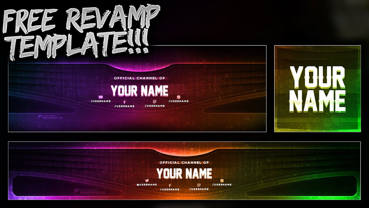 Free Youtube Banner + Twitter Header Template Psd - Free Download - Free Gfx For Twitter Banner Template Psd