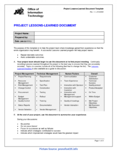 Fresh Project Management Lessons Learned Report Lessons throughout Lessons Learnt Report Template