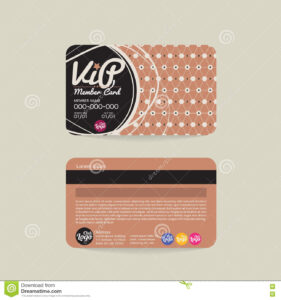 Front And Back Vip Member Card Template. Stock Vector throughout Membership Card Template Free