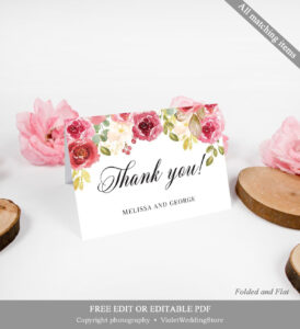 Fully Editable Burgundy Thank You Card, Printable Blush Pink in Powerpoint Thank You Card Template