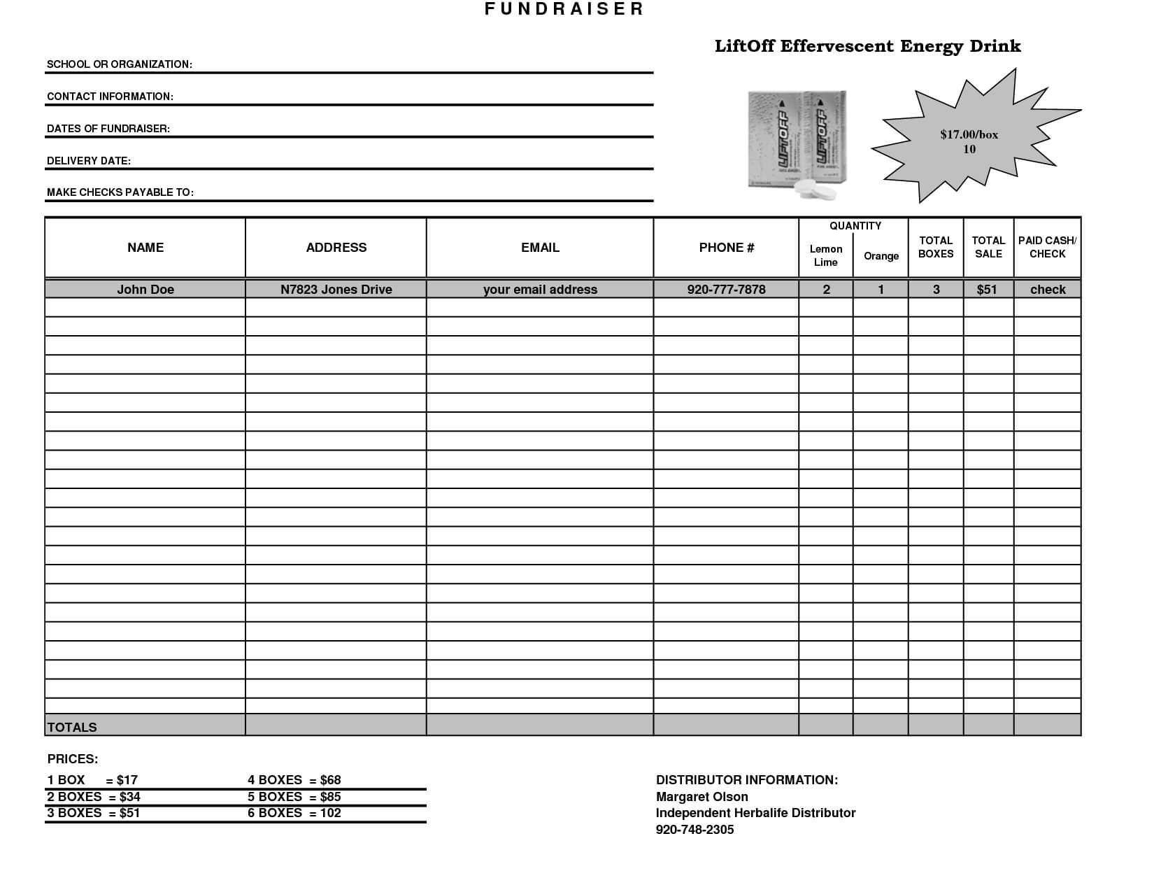 Fundraiser Template Excel Fundraiser Order Form Template Throughout Fundraising Report Template