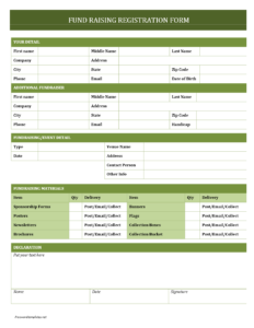 Fundraising Registration Form for Registration Form Template Word Free
