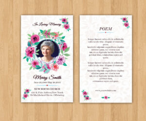 Funeral Prayer Card Template | Editable Ms Word & Photoshop for Prayer Card Template For Word