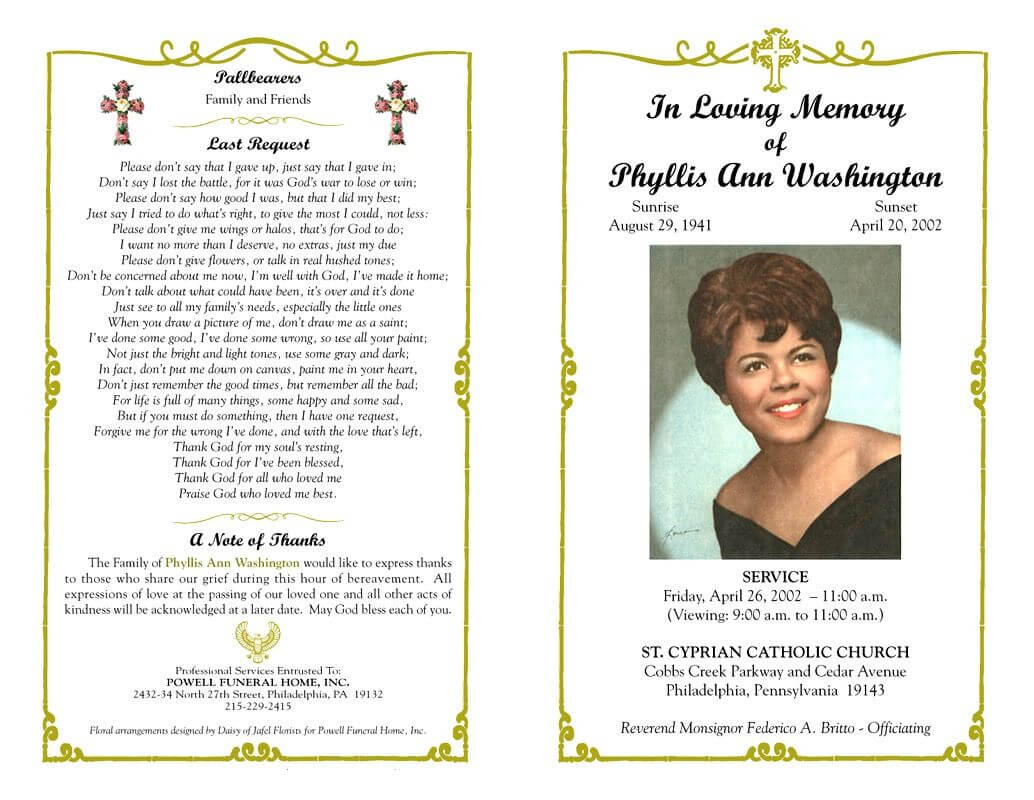 Funeral Program Template Sample Free Loving Memory Templates Regarding Memorial Cards For Funeral Template Free