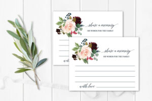 Funeral Share A Memory Card | Printable Funeral Memory Card | Floral  Memorial Card Template | Red Funeral Cards | Memorial Cards Template regarding In Memory Cards Templates