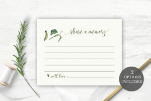 Funeral Share A Memory Card | Printable Funeral Memory Card | Greenery  Memorial Card Template | Funeral Cards | Memorial Cards Template intended for In Memory Cards Templates