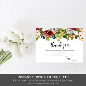 Funeral Thank You Cards Sympathy Acknowledgment Thank You Notes Memorial  Service Editable Burgundy Woman Personalized Sympathy Card Notes for Sympathy Card Template