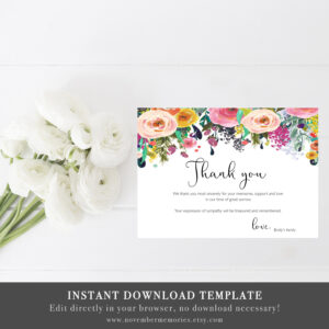 Funeral Thank You Cards Sympathy Acknowledgment Thank You Notes Memorial  Service Editable Woman Flowers Personalized Sympathy Card Notes intended for Sympathy Card Template