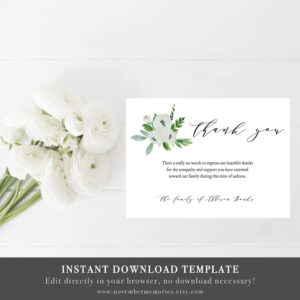Funeral Thank You Cards Sympathy Thank You Cards Memorial Thank You Card  Thank You Notes Sympathy Card Printable Sympathy Card Mother Floral within Sympathy Card Template