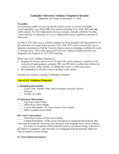Gallaudet University Syllabus Template/checklist intended for Blank Syllabus Template