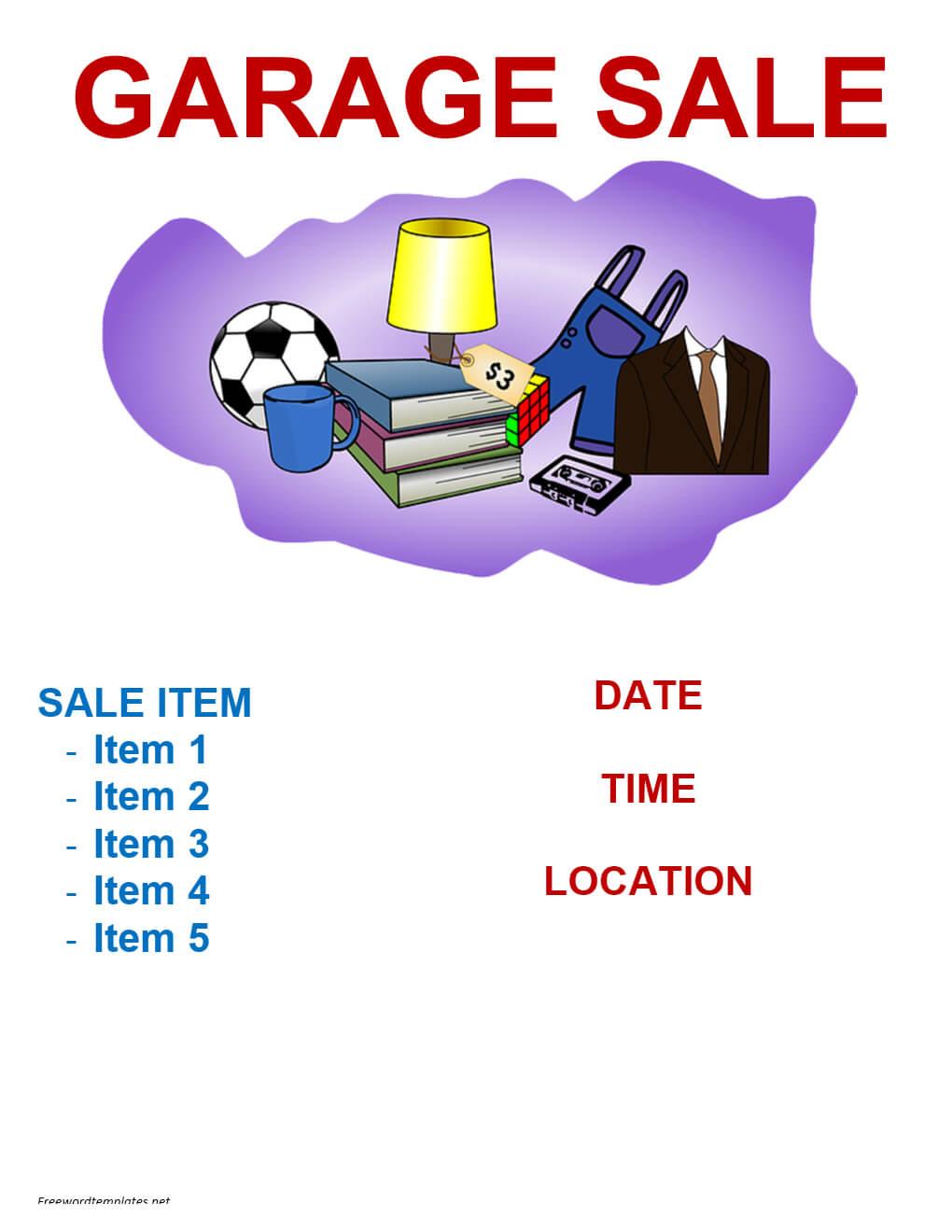 Garage Sale Flyer Template | Freewordtemplates For Garage Sale Flyer Template Word