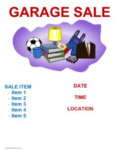 Garage Sale Flyer Template | Freewordtemplates In Yard Sale Flyer Template Word