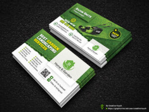 Garden Landscape Business Card Template | Fully Editable Tem for Landscaping Business Card Template