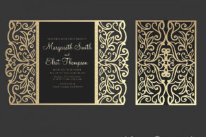 Gate Fold Wedding Invitation , 5X7, Cricut Template, Quinceanera Card –  Svg, Dxf, Cricut, Silhouette Cameo pertaining to Silhouette Cameo Card Templates