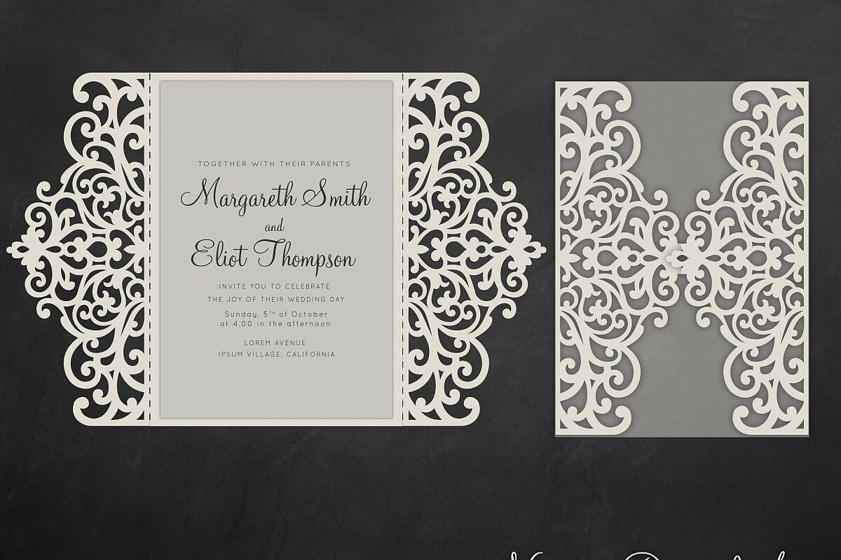 Gate Fold Wedding Invitation , 5X7, Cricut Template, Quinceanera Card –  Svg, Dxf, Cricut, Silhouette Cameo With Silhouette Cameo Card Templates