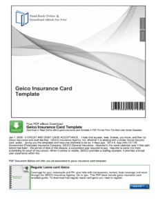 Geico Insurance Card Template – Fill Online, Printable within Car Insurance Card Template Download