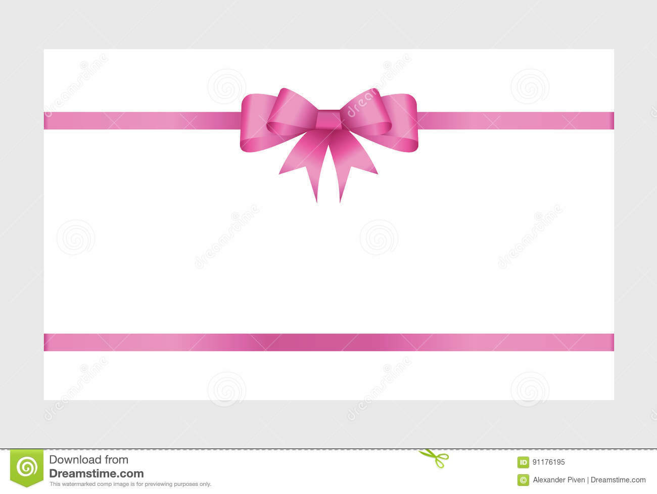 Gift Card With Pink Ribbon And A Bow Stock Vector Intended For Pink Gift Certificate Template
