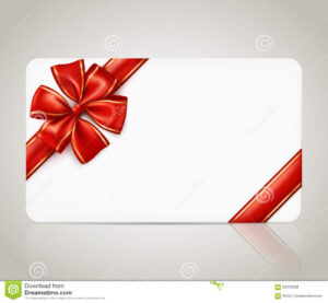 Gift Card With Red Ribbon Bow Stock Vector – Illustration Of for Present Card Template