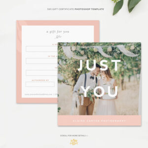 Gift Certificate Template For Photographers Or Small Businesses | Gift Card  Photoshop Template | Marketing Template throughout Small Certificate Template
