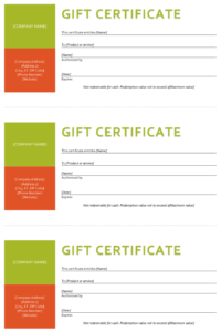 Gift Certificate Template – Sample Gift Certificate for Company Gift Certificate Template