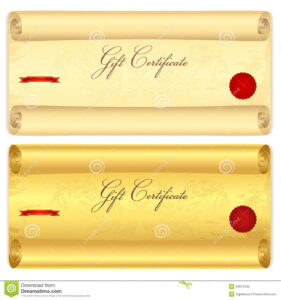 Gift Certificate, Voucher Template. Old Scroll, Pa Stock regarding Scroll Certificate Templates
