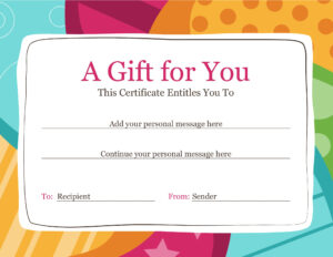 Gift Certificate within Gift Certificate Template Publisher