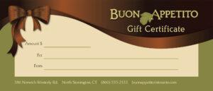 Gift Certificates For Buon Appetito Ristorante & Pizzeria regarding Pizza Gift Certificate Template
