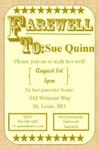Going Away Party Invitations – Farewell Burlap | Farewell with Farewell Card Template Word