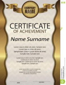 Gold Certificate Of Achievement Or Diploma. Template intended for Certificate Of Attainment Template