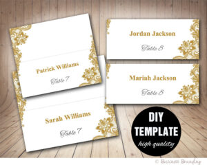 Gold Lace Wedding Place Cards Template Foldover, Diy Gold Place Card,  Instant Download,gold And Silver Printable Wedding Seating Placecards inside Fold Over Place Card Template