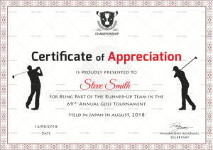 Golf Appreciation Certificate Template For Golf Certificate Templates For Word