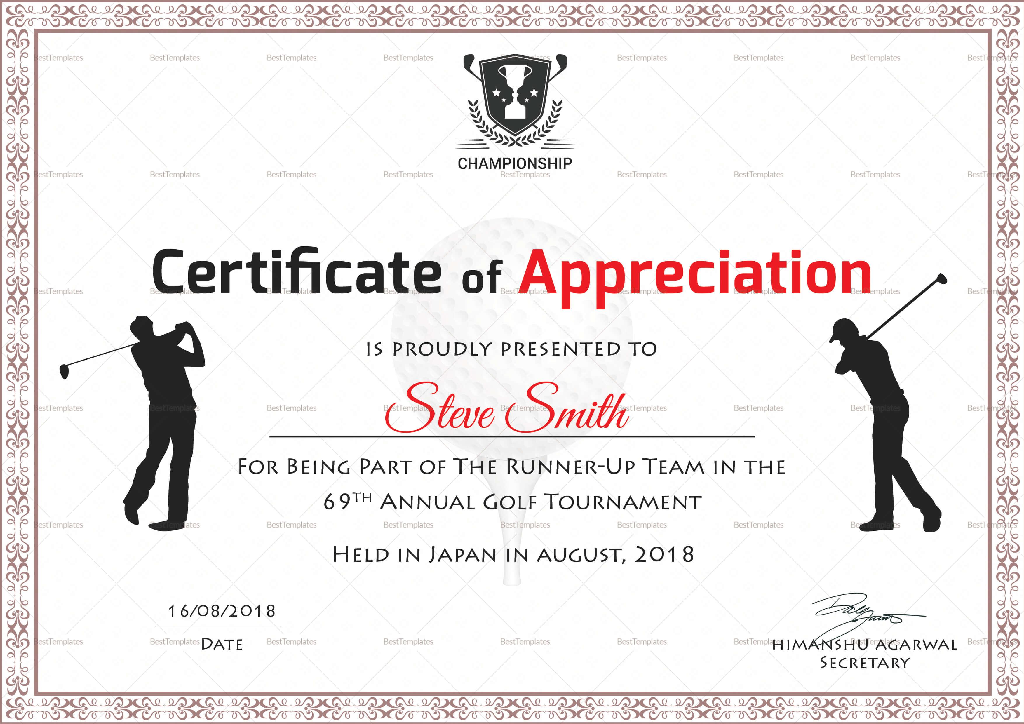 Golf Appreciation Certificate Template For Golf Certificate Templates For Word
