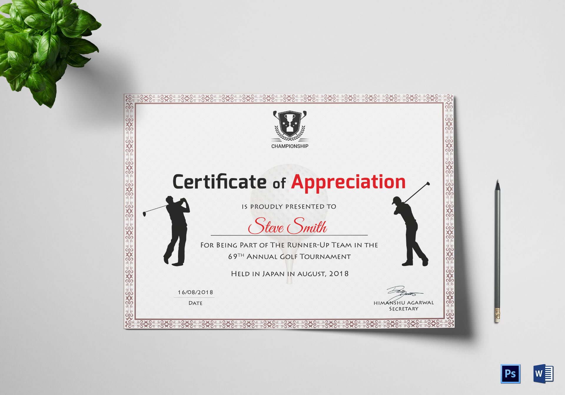 Golf Appreciation Certificate Template Pertaining To Walking Certificate Templates