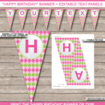 Golf Birthday Party Banner Template – Pink & Green Within Diy Party Banner Template