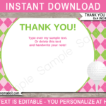 Golf Birthday Party Thank You Cards Template – Pink/green Regarding Thank You Note Cards Template