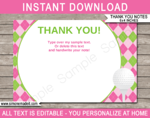 Golf Birthday Party Thank You Cards Template – Pink/green throughout Thank You Note Card Template