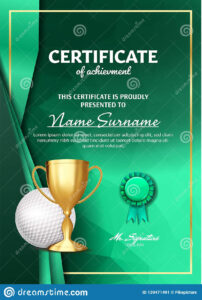 Golf Certificate Diploma With Golden Cup Vector. Sport Award intended for Golf Certificate Template Free