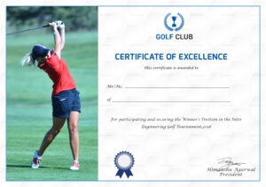 Golf Excellence Certificate Template For Golf Certificate Templates For Word