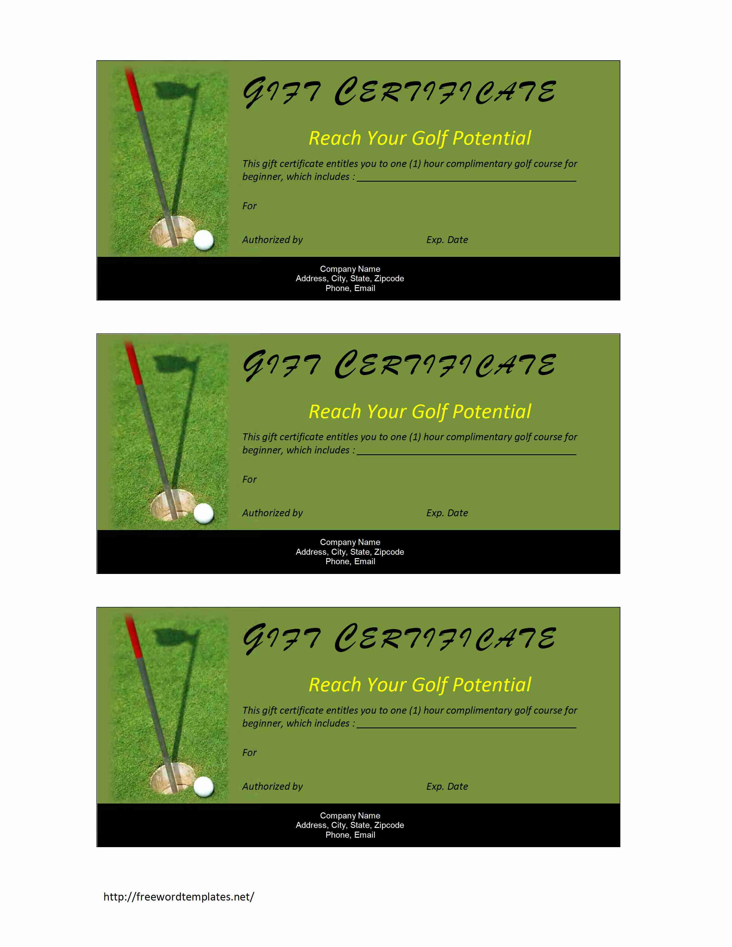 Golf Gift Certificate For Golf Certificate Template Free