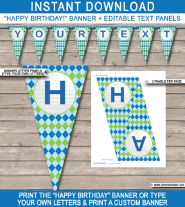 Golf Party Banner Template – Blue & Green with regard to Free Printable Party Banner Templates