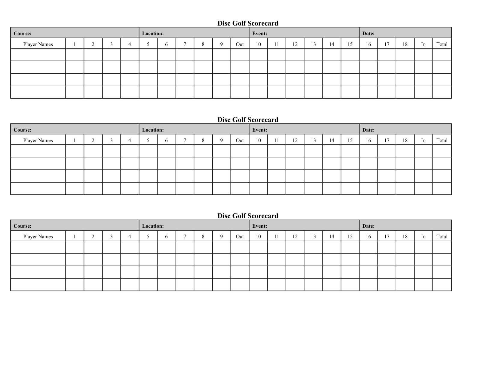 Golf Score Card Template | Running | Golf Crafts, Golf Score In Golf Score Cards Template