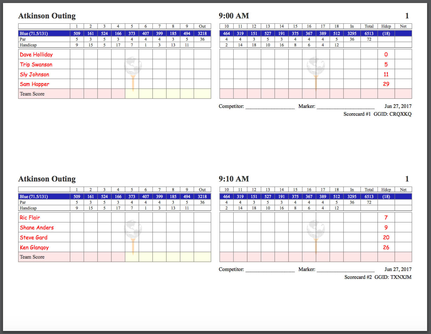 Golfgenius – Printing Scorecards (Format Tab) In Golf Score Cards Template