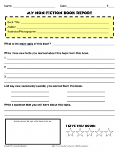 Grade Book Report Template Non Fiction Reports One Page New regarding One Page Book Report Template