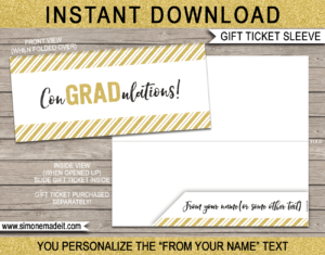 Graduation Gift Ticket Sleeve Template – Gold Glitter Intended For Graduation Gift Certificate Template Free