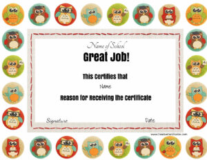 "Great Job Award With Colored Owls. The Title ""great Job"" And within Good Job Certificate Template"